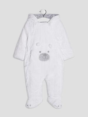 Combinaison a capuche zippee blanc bebeg
