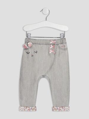 Jeans slouchy elastique gris bebef