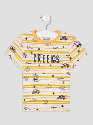 T shirt manches courtes Creeks jaune bebeg