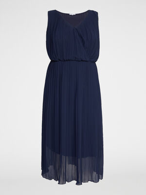 Robe unie plissee grande taille bleu marine femme