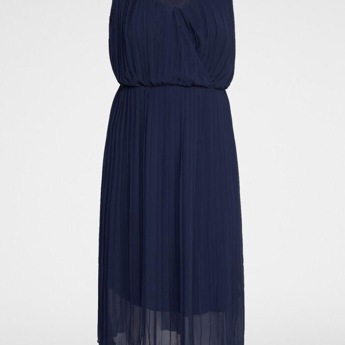 Robe unie plissée grande taille femme bleu marine
