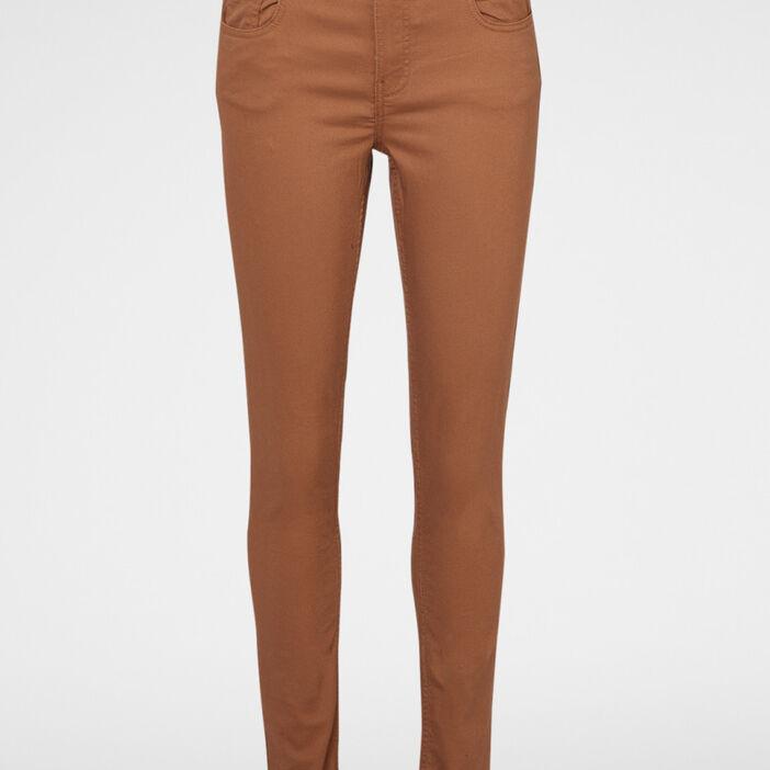 Pantalon skinny taille basse femme camel
