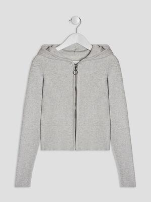 Gilet zippe a capuche gris fille