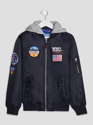 Blouson a capuche NASA bleu marine garcon