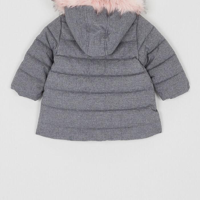 manteau avec fourrure synthétique fille gris