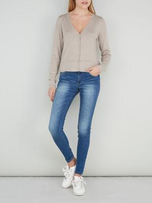 Jean skinny delave taille basse denim stone femme