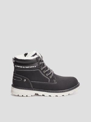 Boots fourrees zip et lacets noir garcon