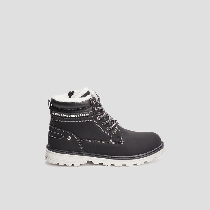 Boots fourrées zip et lacets garçon noir