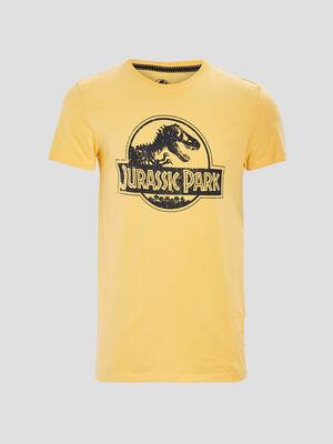T shirt Jurassic Park jaune moutarde homme