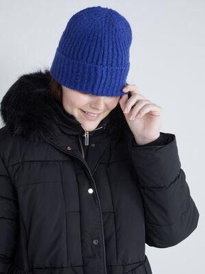 Bonnet uni maille cotelee bleu roi mixte