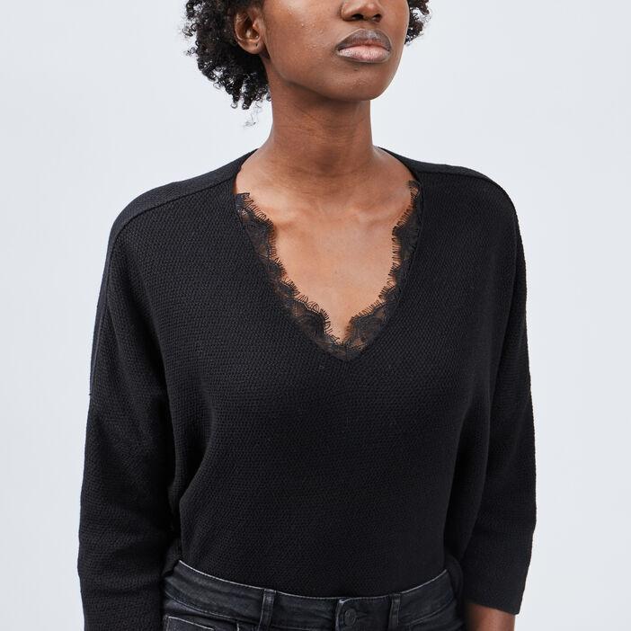 Pull manches 3/4 Liberto femme noir
