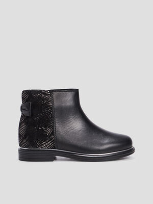 Bottines zippees en cuir noir fille