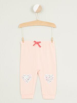 Pantalon broderies et details 3D rose clair fille