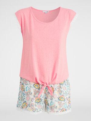 Pyjama 2 pieces short T shirt orange corail femme