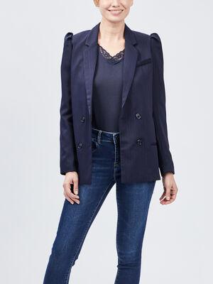 Veste droite avec fronces bleu marine femme