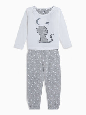 Pyjama 2 pieces imprime gris fille