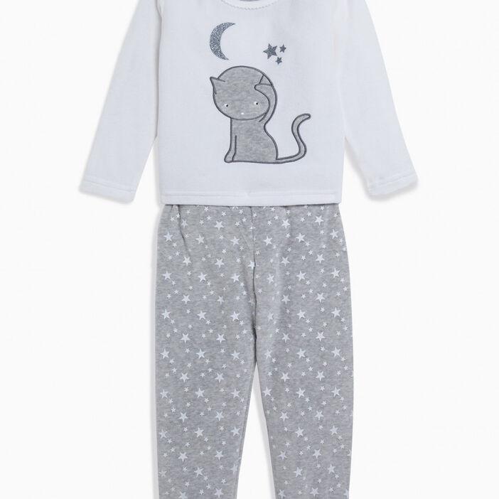 Pyjama 2 pièces imprimé fille gris