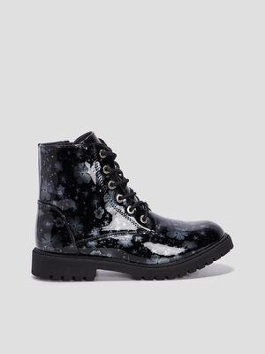 Boots vernies imprime fleurs noir fille