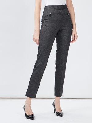 Pantalon droit details zippes gris fonce femme