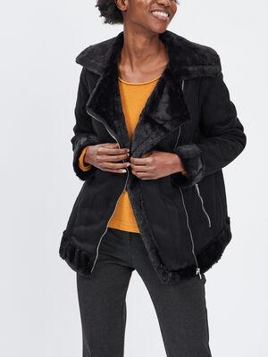 Veste droite zippee noir femme