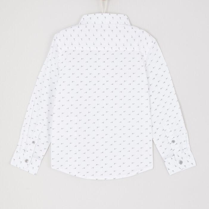 Chemise manches longues imprimé géométrique garçon blanc