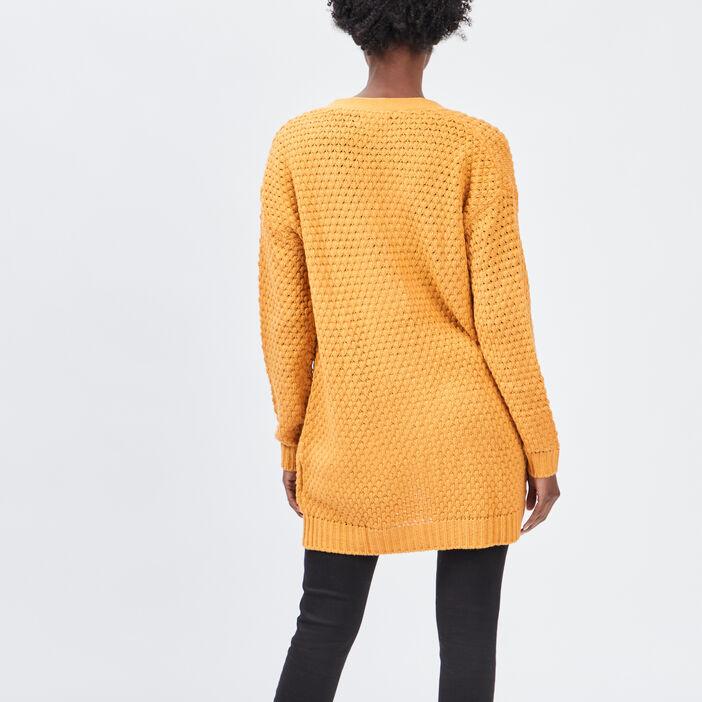 Gilet mi-long droit femme jaune moutarde