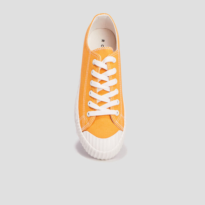 Tennis en toile femme jaune moutarde