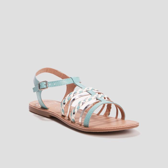 Sandales avec brides tressées fille bleu