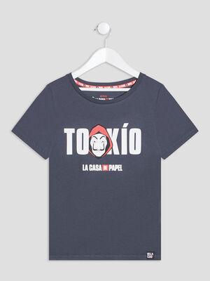 T shirt Casa de Papel gris fonce fille