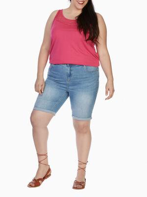 Bermuda coton melange grande taille denim double stone femme