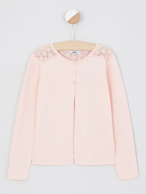 Gilet rose clair fille