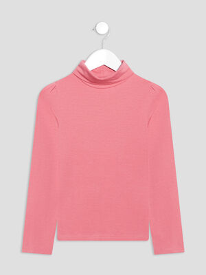 T shirt manches longues rose framboise fille