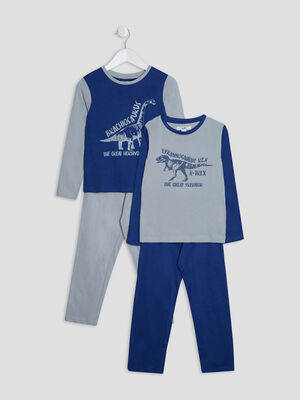 Lot 2 ensembles pyjamas bleu marine garcon