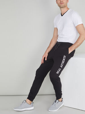 Jogging inscriptions laterales noir homme