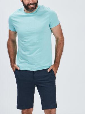 T shirt manches courtes bleu turquoise homme