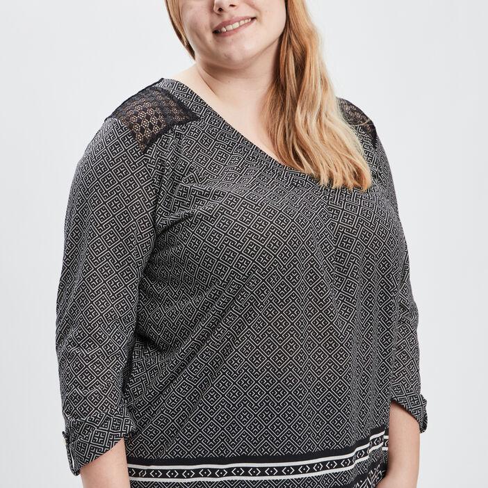 T-shirt imprimé avec dentelle fantaisie femme noir