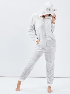Pyjama combinaison chat a capuche taupe femme