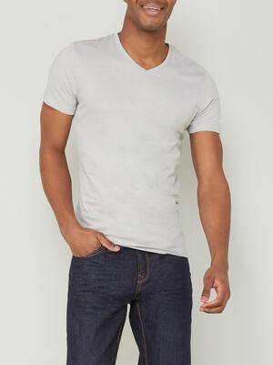T shirt col V uni gris clair homme