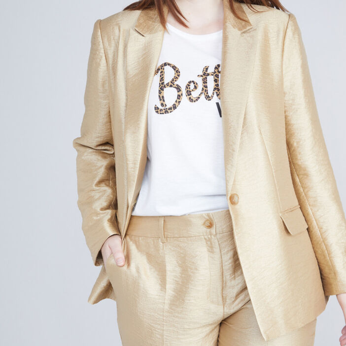veste de costume dorée femme couleur or