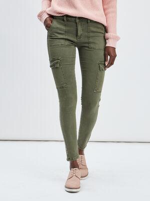 Pantalon skinny Creeks vert kaki femme