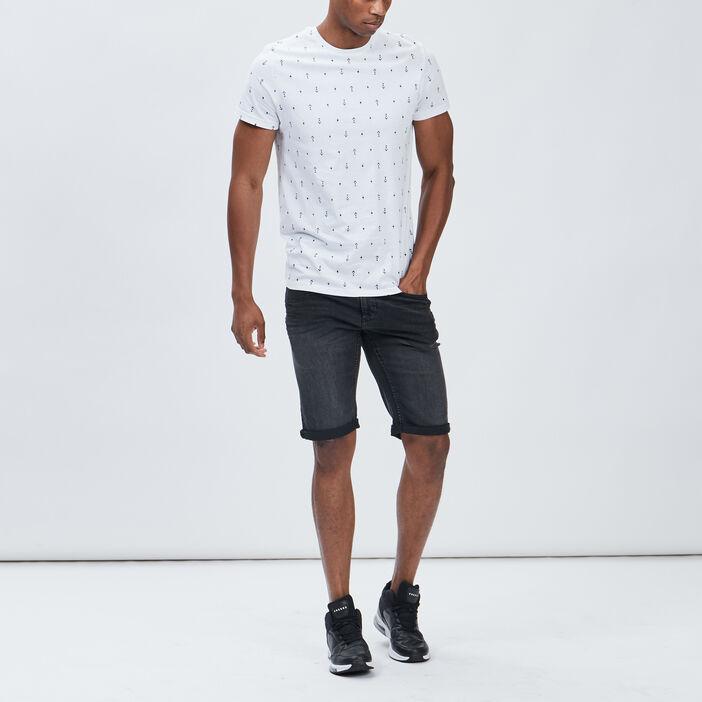 Bermuda regular en jean homme noir