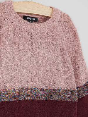 Pull colorblock details metallises bordeaux fille