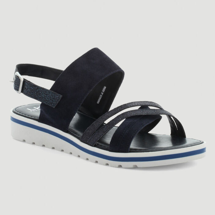 Sandales brides croisées femme bleu