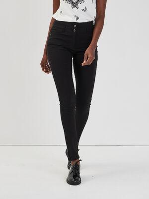 Pantalon taille haute uni noir femme