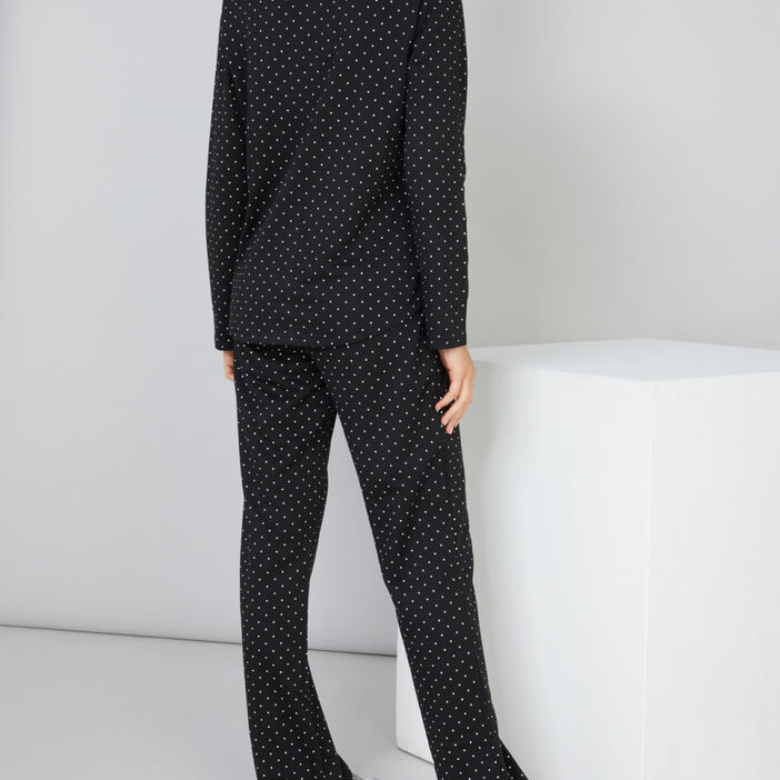 Pyjama long à pois femme noir
