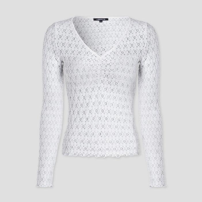 T-shirt en dentelle Liberto femme ecru