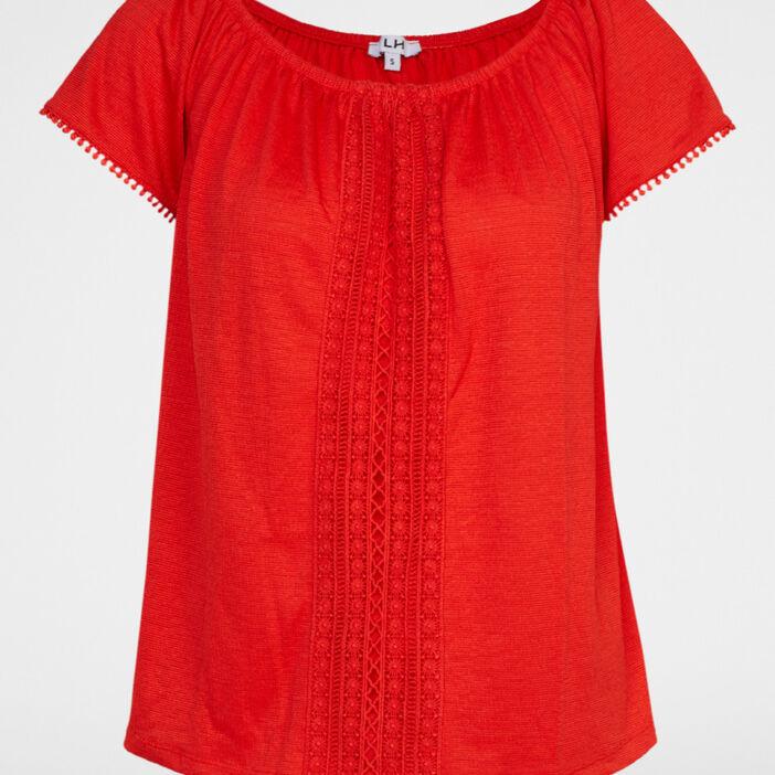 T-shirt uni texturé avec dentelle femme rouge