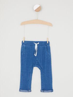 Pantalon uni coupe droite bleu garcon