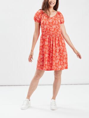 Robe droite manches courtes rouge corail femme