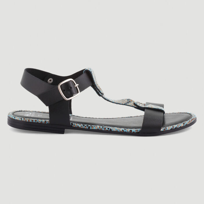 Sandales dessus cuir bride imprimée femme noir